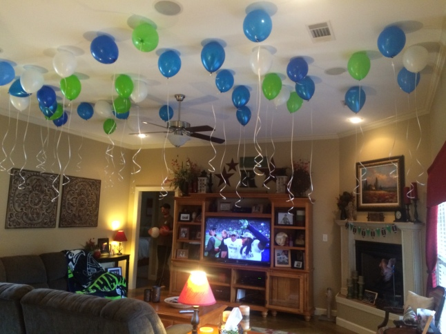 Super Bowl Football Birthday Party balloons