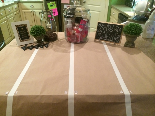 Super Bowl Football Birthday Party cake tablescape