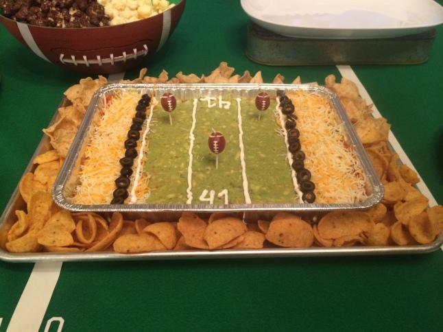 Super Bowl Football Birthday Party seven layer dip
