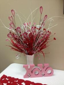 Valentine Flower arrangement Teachers Lounge PTO
