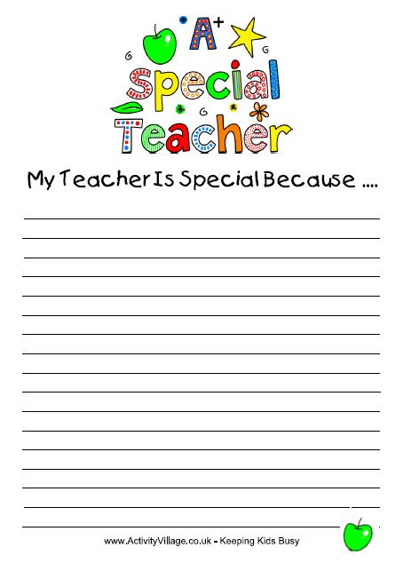 A Special Teacher Writing Prompt