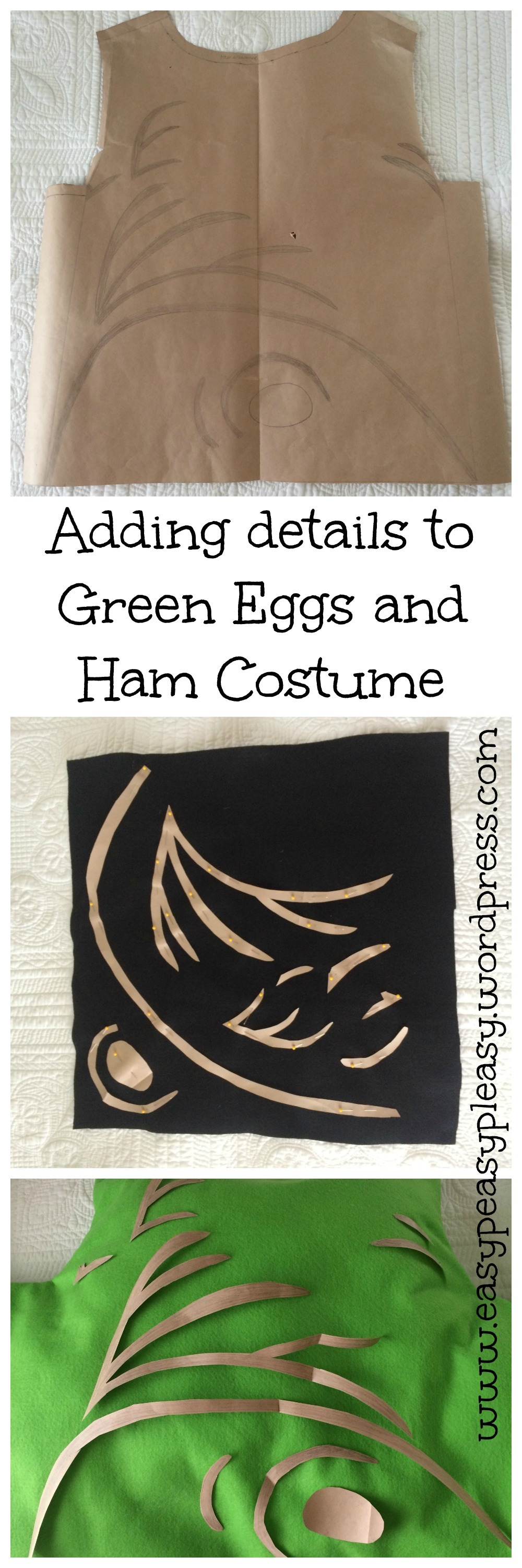 Adding details to Dr. Seuss's Sam I am Green Eggs and Ham Costume. Full directions at www.easypeasypleasy.wordpress.com