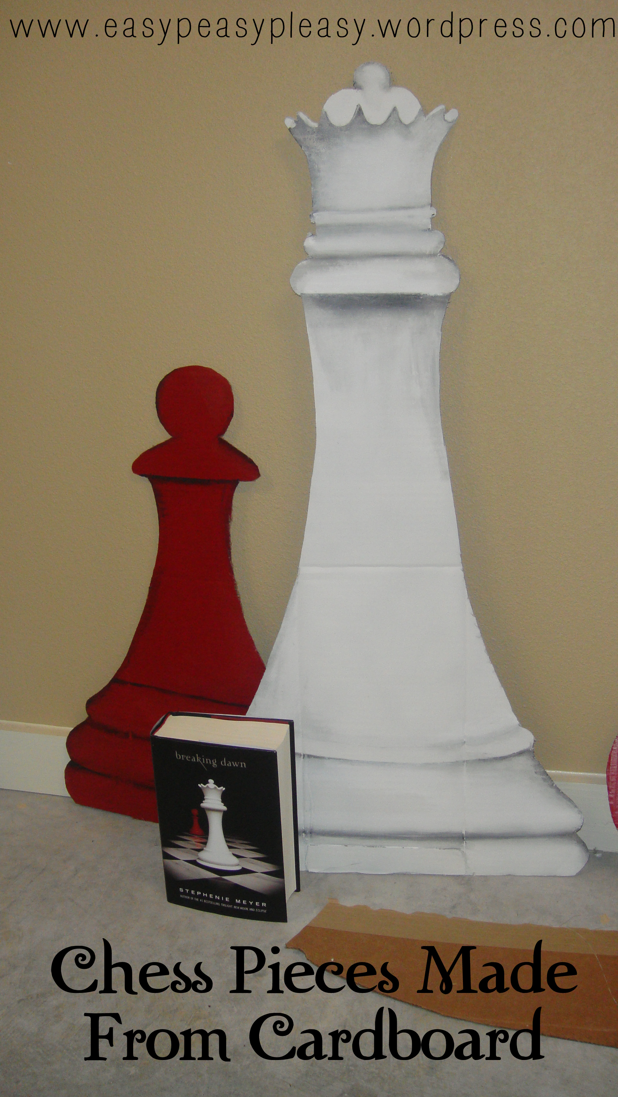 Chess Pieces made from cardboard for Twilight Party