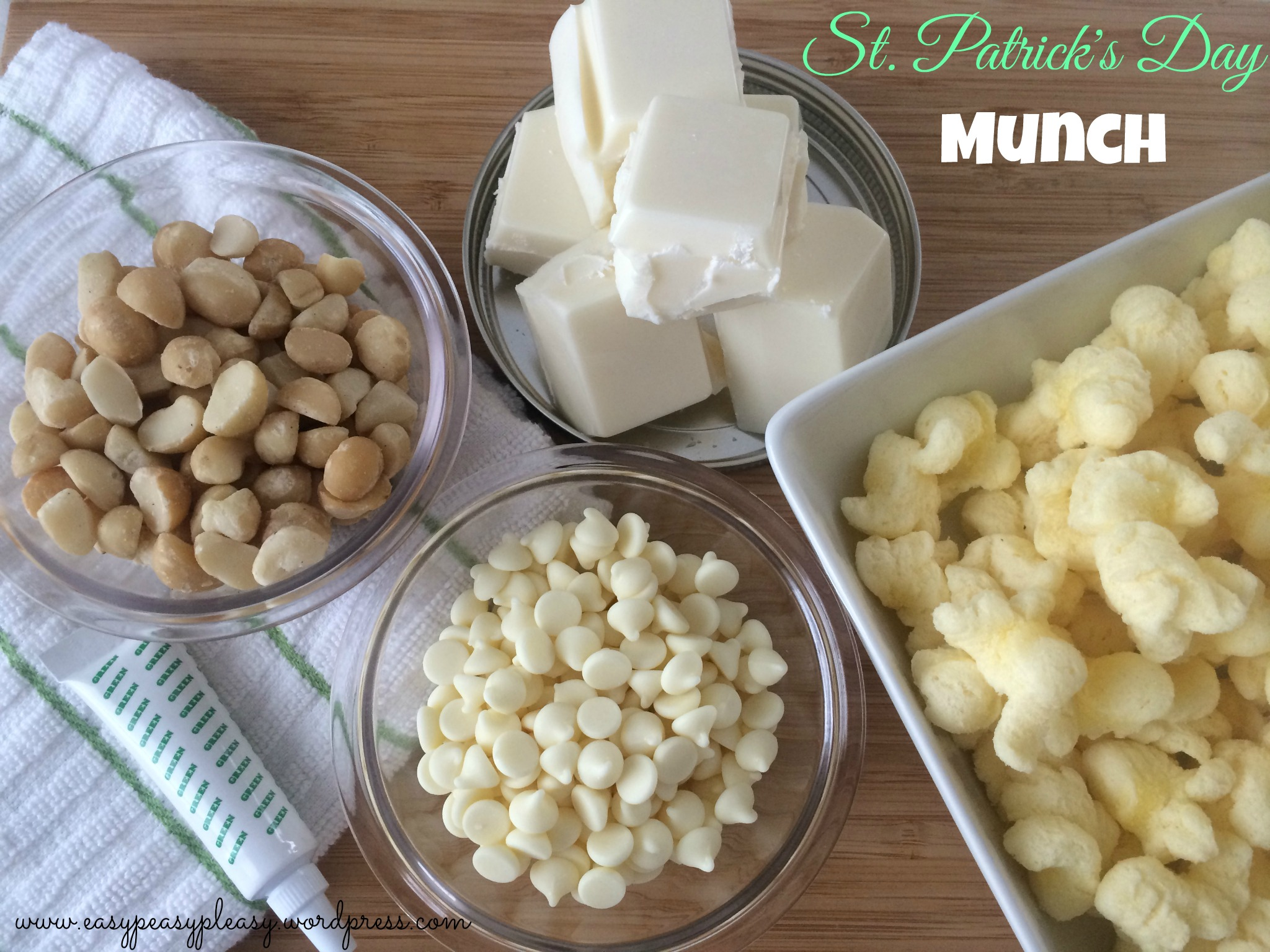 Come check out how to use these simple ingredients to make St. Patrick's Day Munch at www.easypeasypleasy.wordpress.com