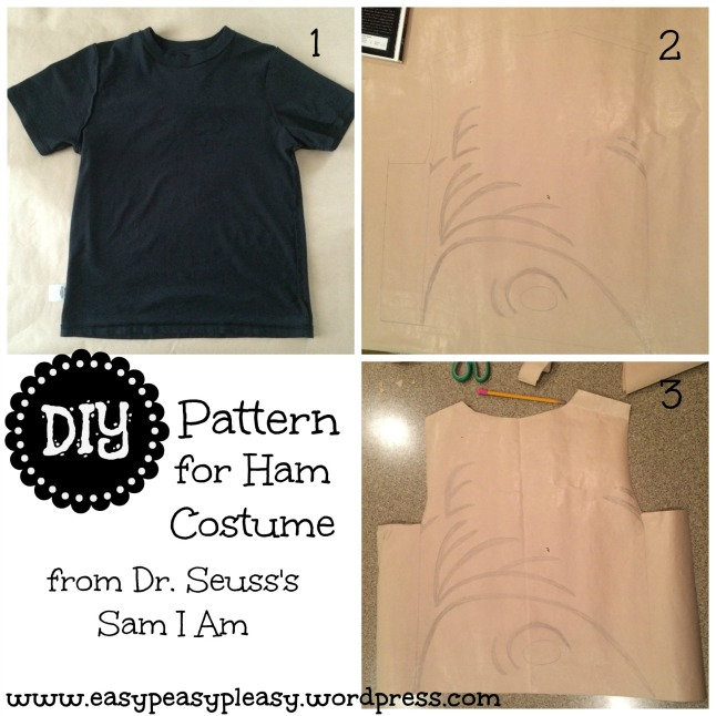 DIY Pattern for Ham Costume from Dr. Seuss's Sam I Am Green Eggs and Ham collage. Seuss's Sam I Am collage