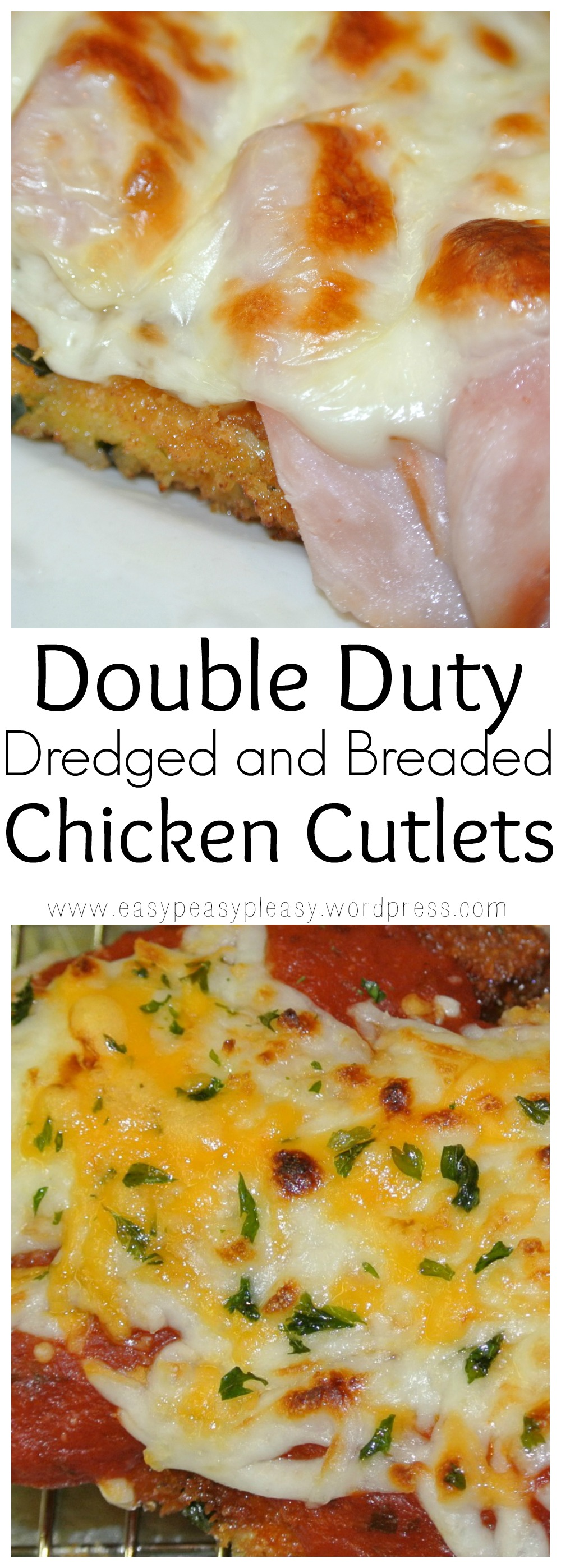 Double Duty Dredged and Breaded Chicken Cutlets Recipes at www.easypeasypleasy.wordpress.com