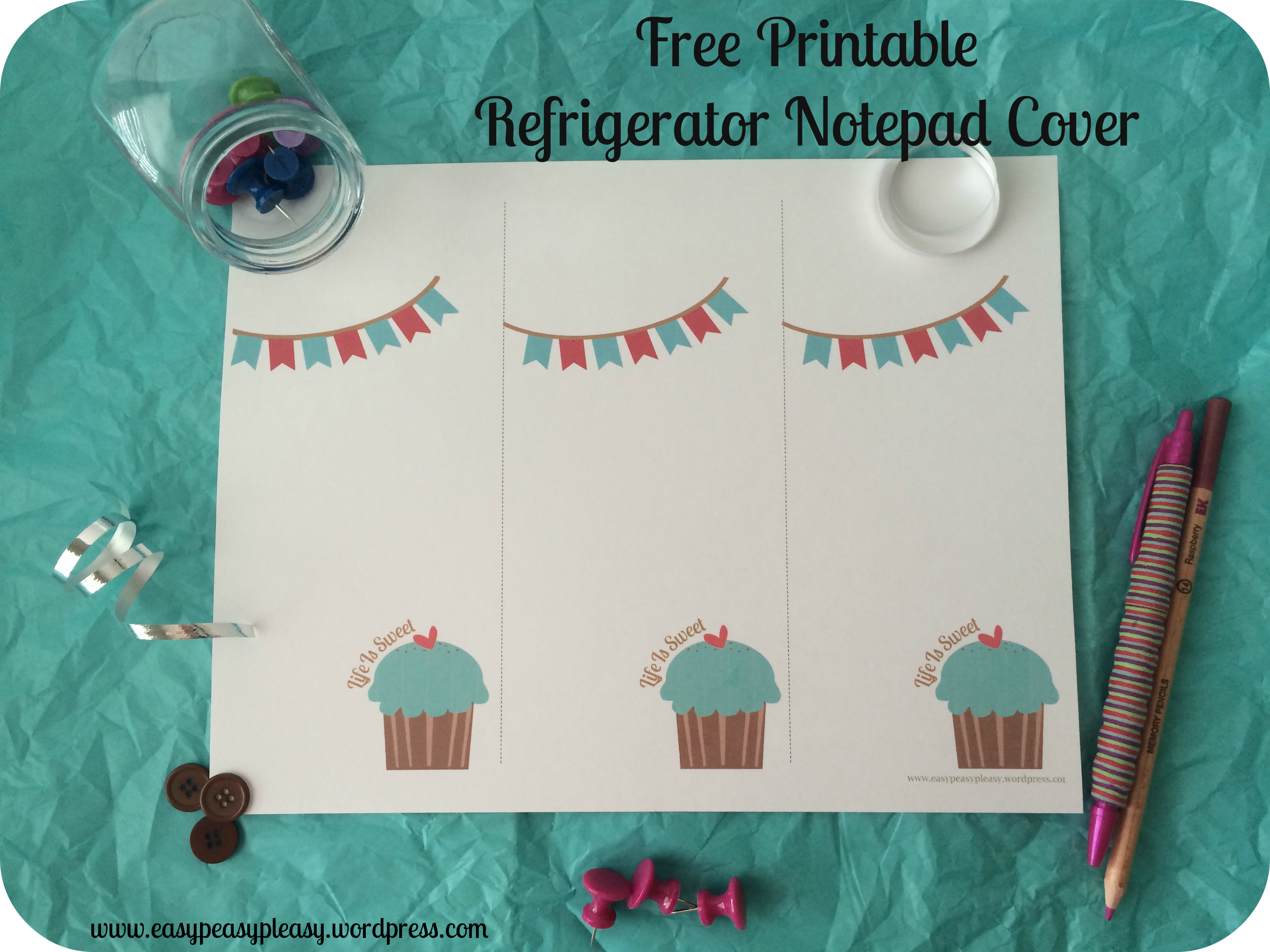 Free Printable Refrigerator Notepad Cover Full Sheet