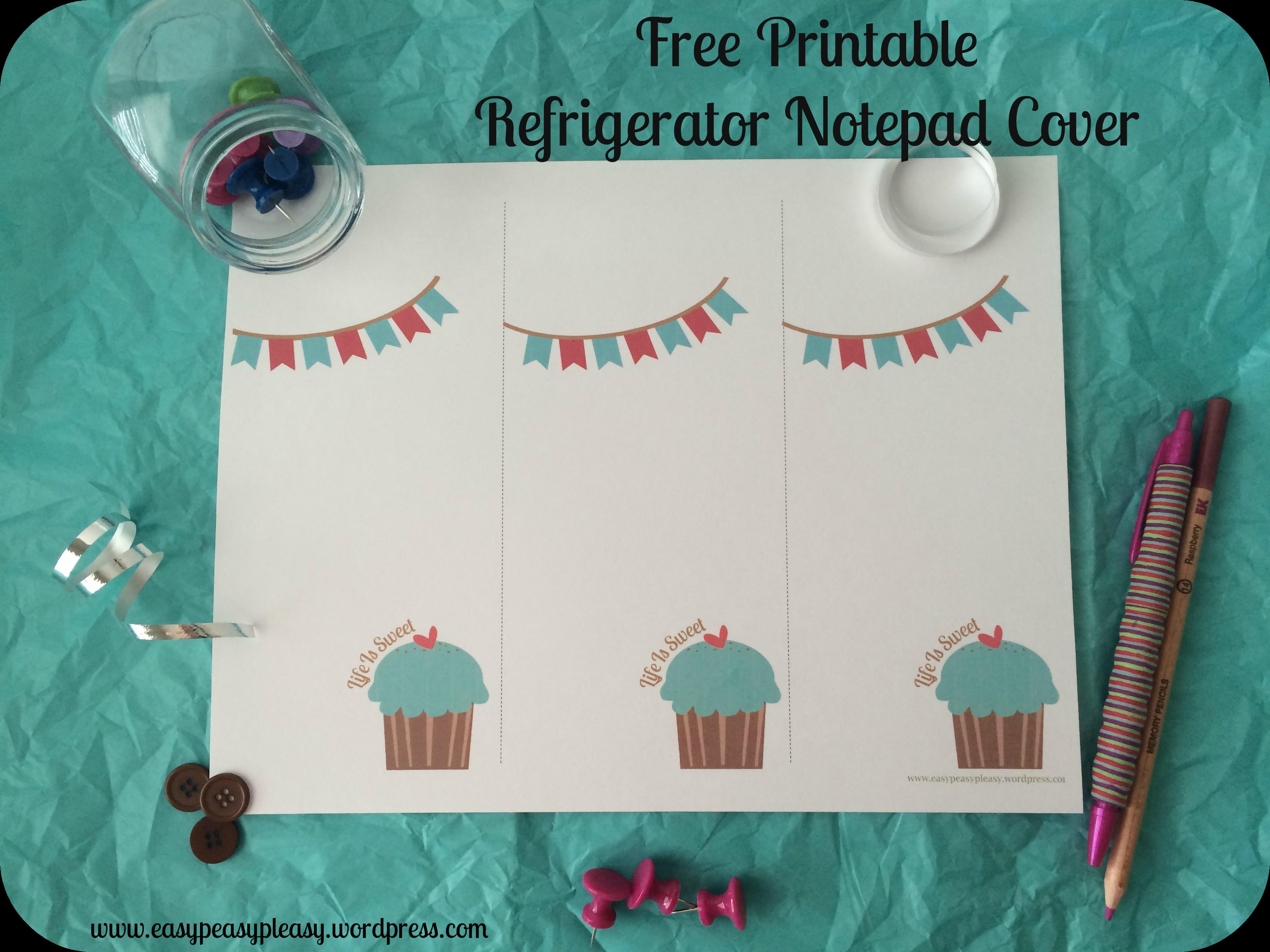 Free Printable Refrigerator Notepad Cover Full Sheet
