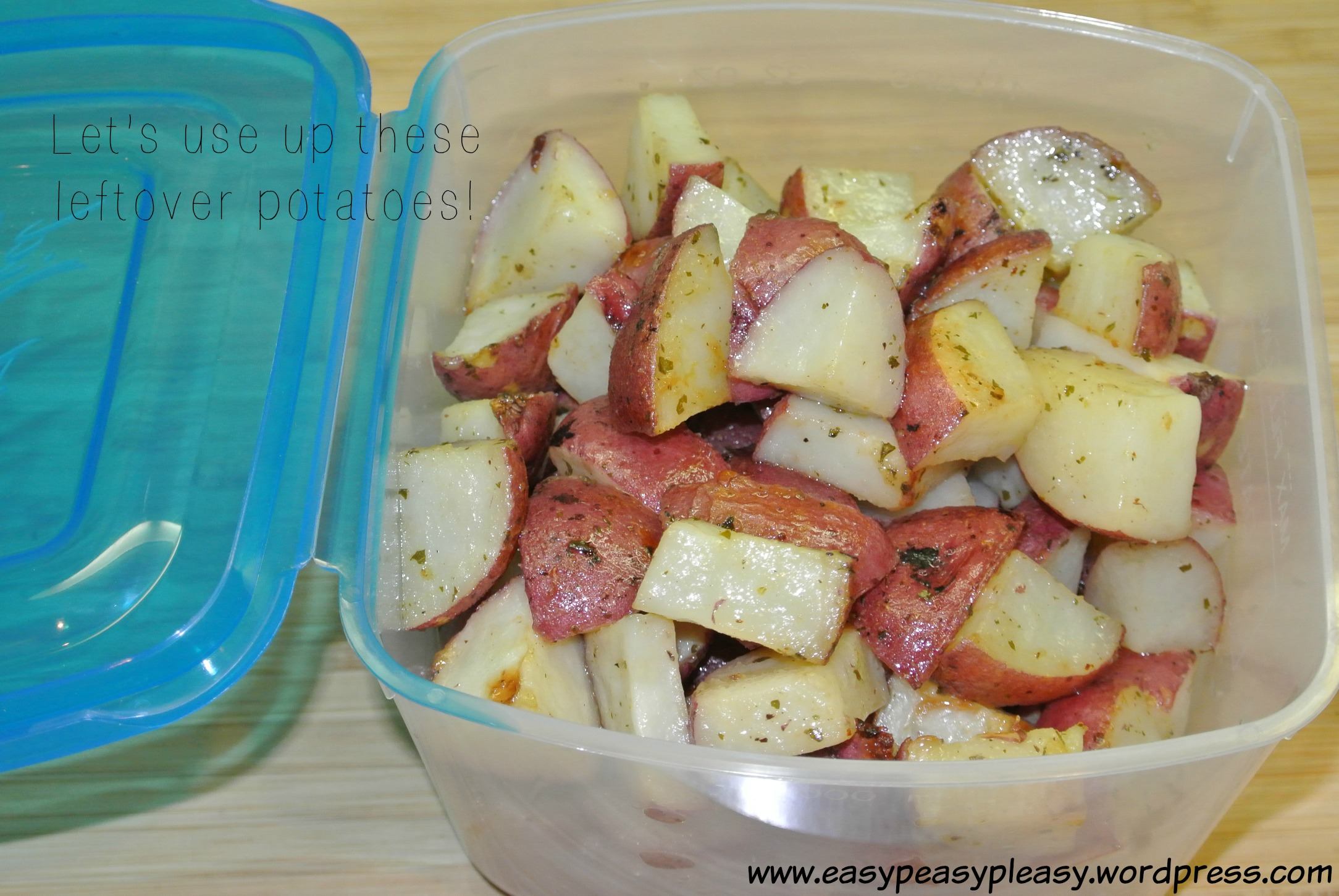 How to use up leftover potatoes as a double duty recipe idea at www.easypeasypleasy.wordpress.com