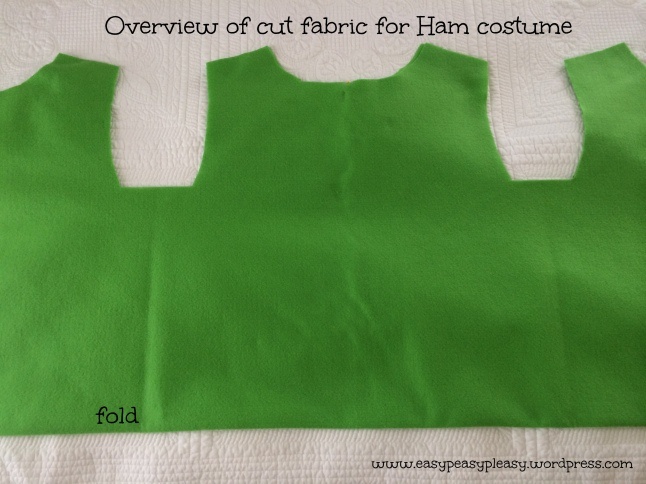 Overview of cut fabric for Dr. Seuss Sam I am Green Eggs and Ham costume
