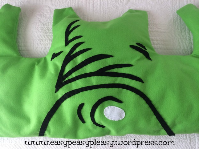 Overview of hand stitch shading on Dr. Seuss Sam I Am Green Eggs and Ham costume