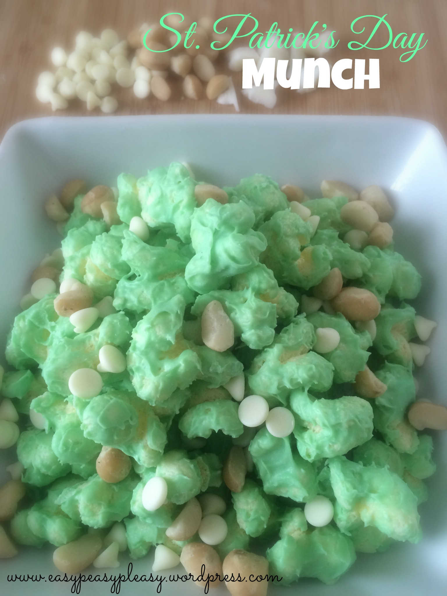 Quick St. Patrick's Day Munch Snack Idea at www.easypeasypleasy.wordpress.com