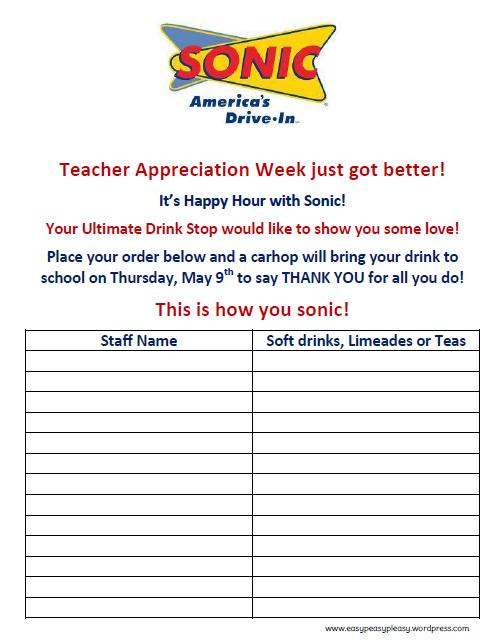 Teacher Appreciation Sonic Order Form Printable