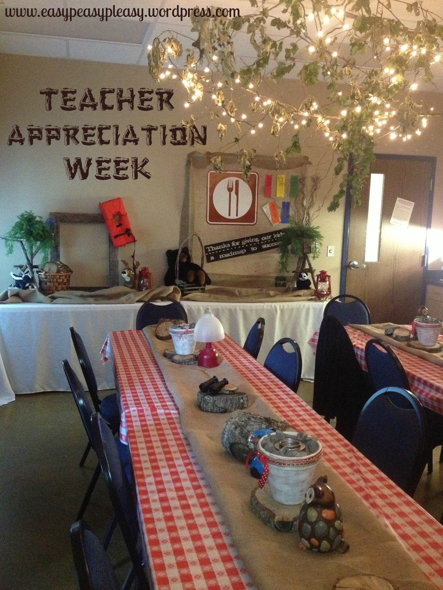Teacher Appreciation Week Camping Theme tables and buffet tables