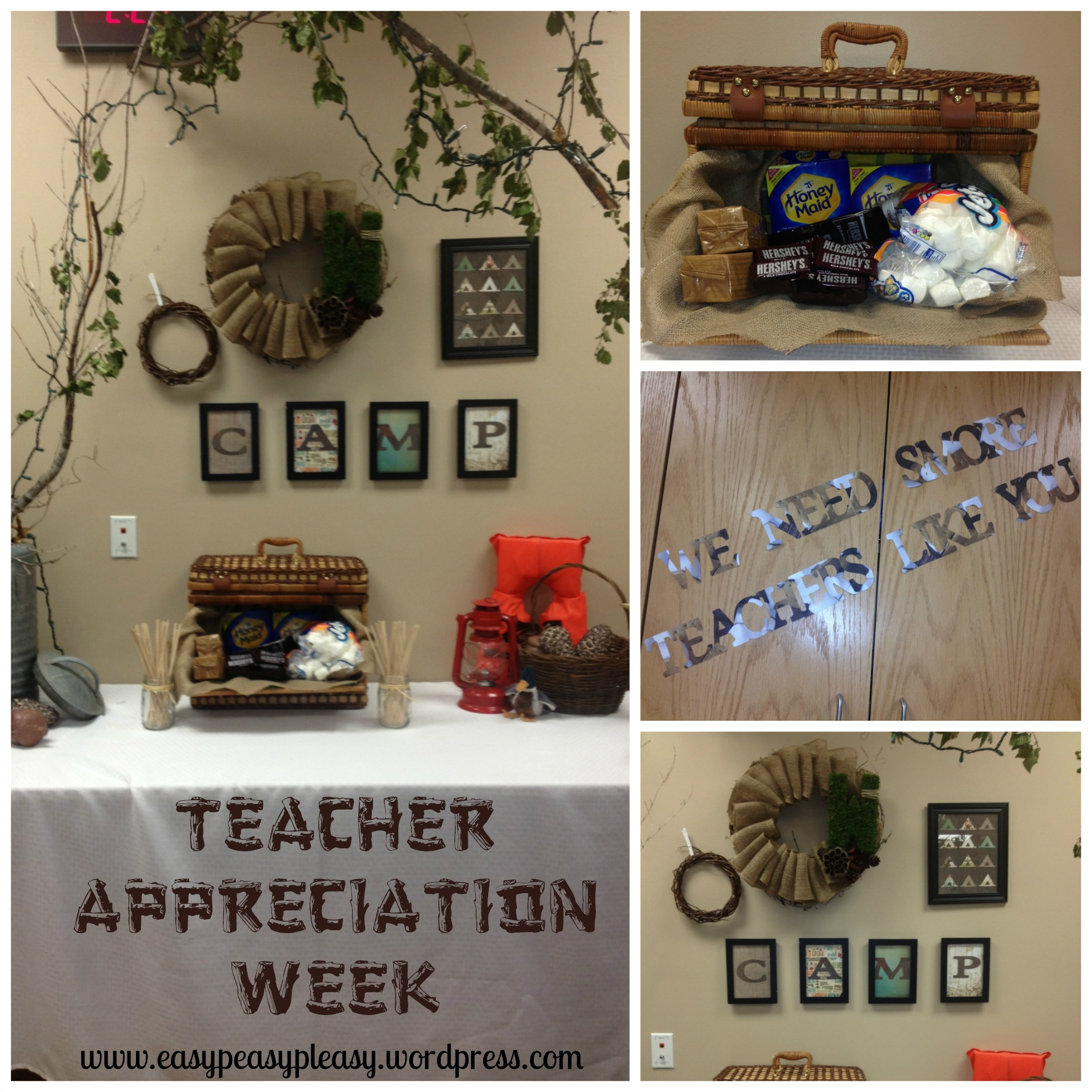 Teacher Appreciation Week Camping Theme Teacher's Lounge Makeover Ideas at www.easypeasypleasy.wordpress.com