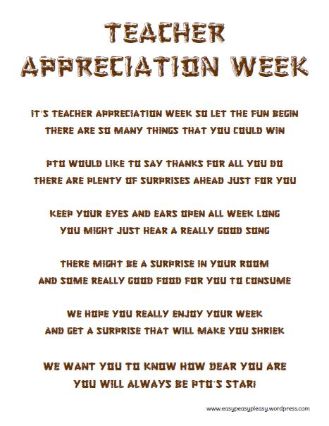 Teacher Appreciation Week Form to give the Teachers to start the week