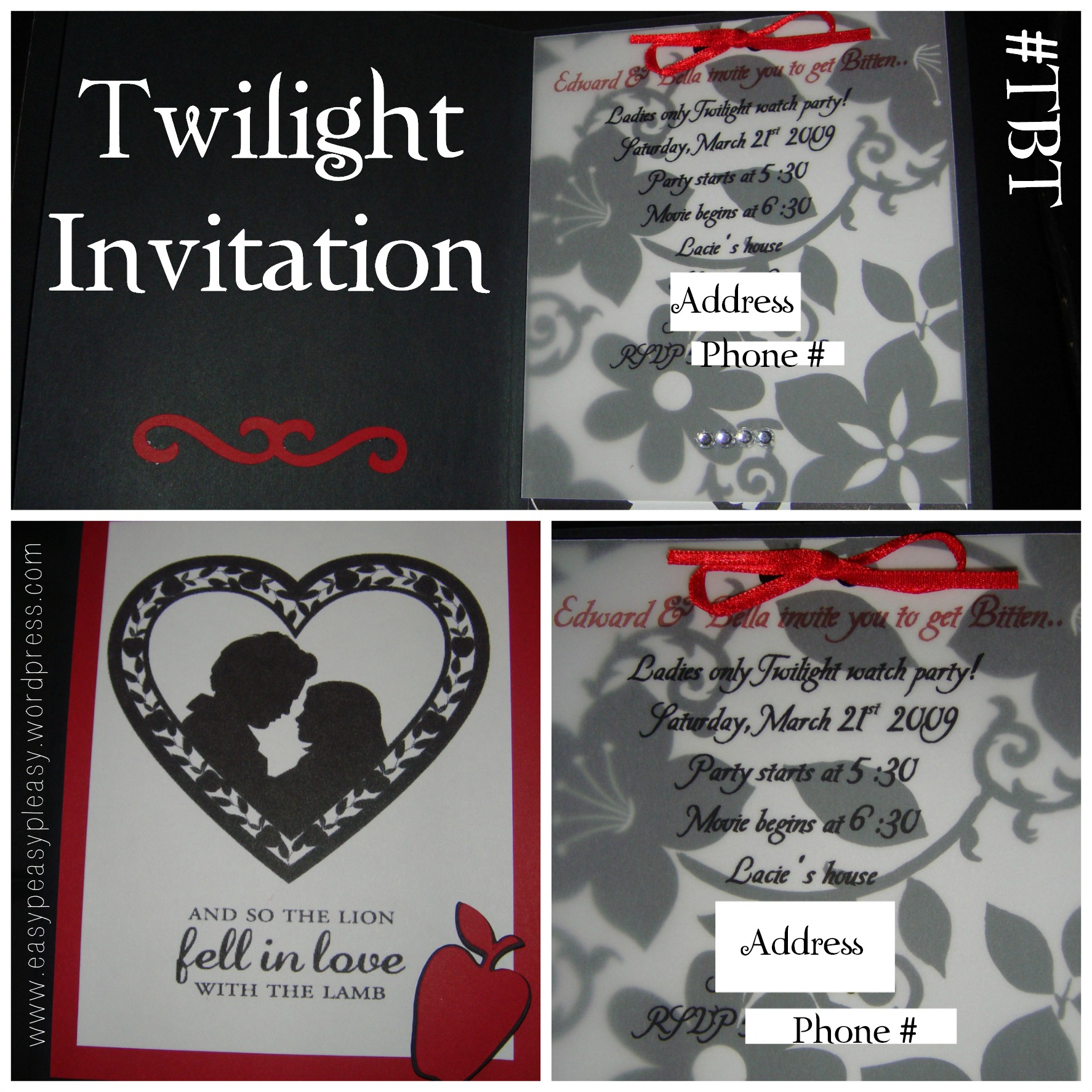 Twilight Invitation Opened and Front View #TBT