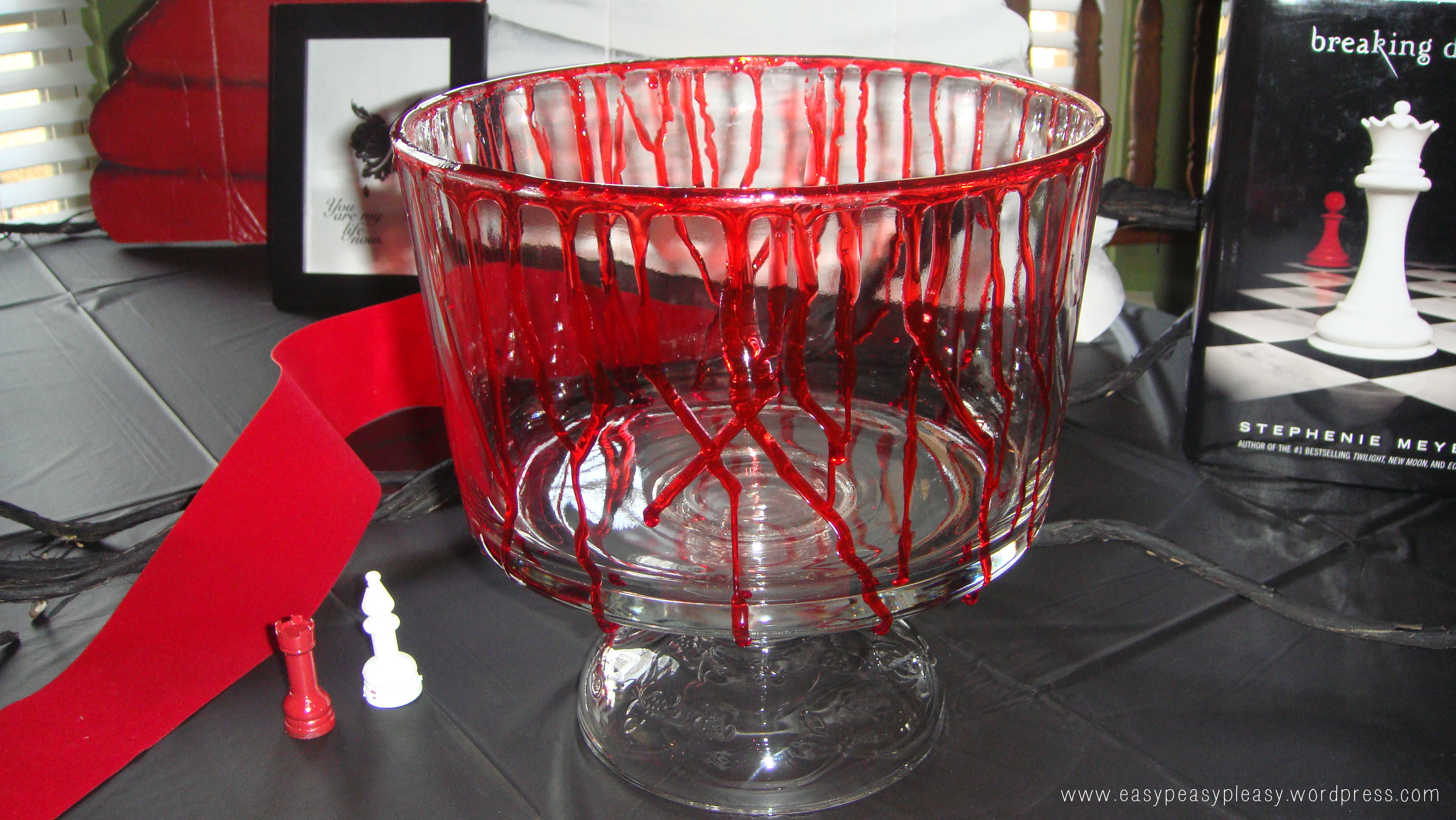 Twilight Party Serving Dish with cornstarch and red food coloring