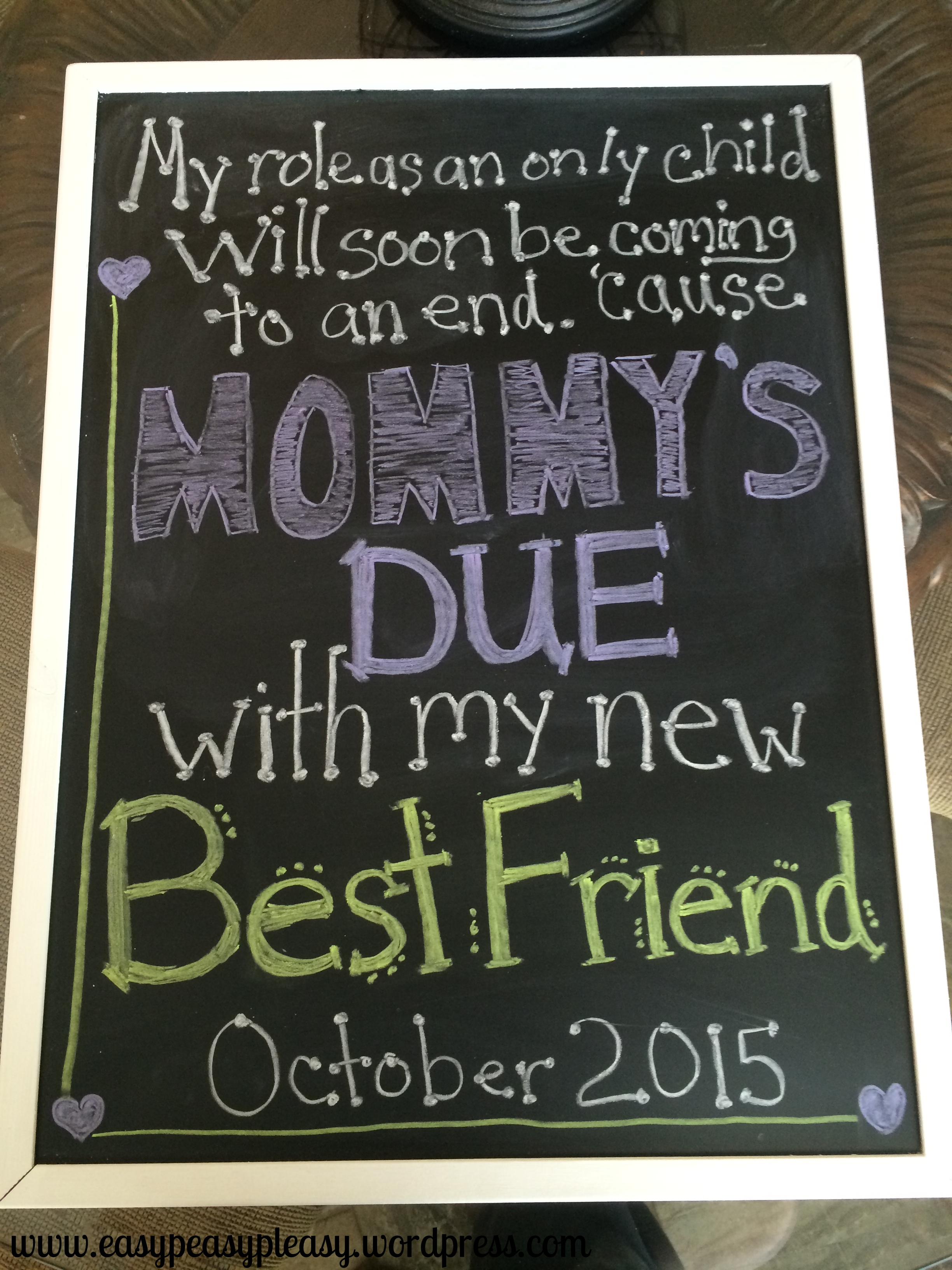 Easy DIY chalkboard birth announcement