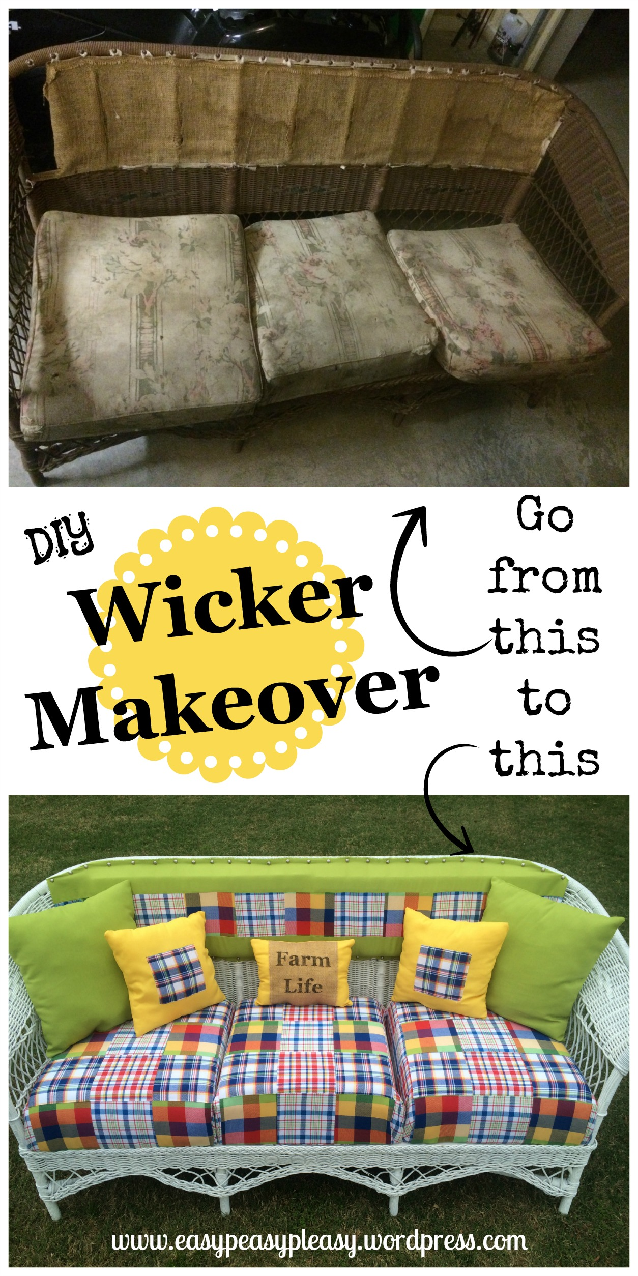 DIY Wicker Makeover and tutorial to make wicker look like new