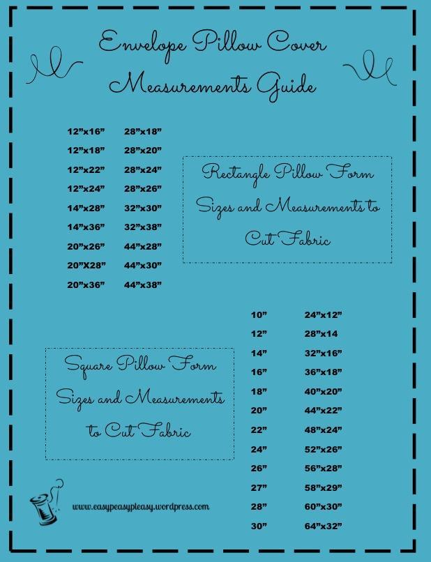 Throw Pillow Cover Measurements : Envelope Pillow Cover Measurement Guide - Easy Peasy Pleasy