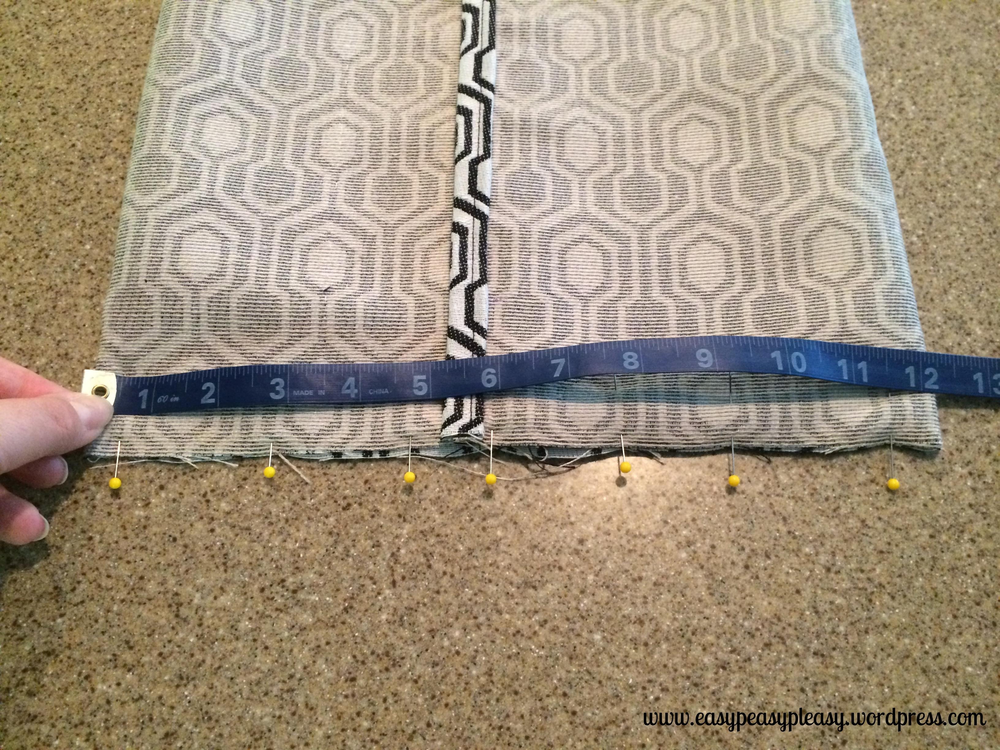 Envelope Pillow Tutorial measuring and pinning to sew side hem