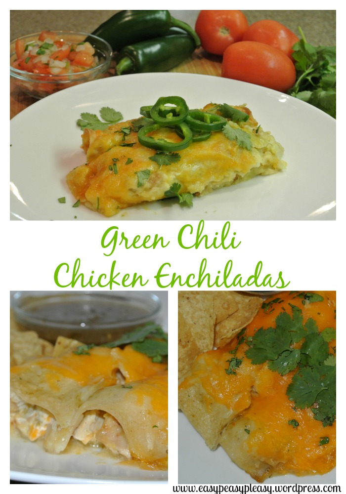 Green Chili Chicken Enchiladas recipe at www.easypeasypleasy.wordpress.com