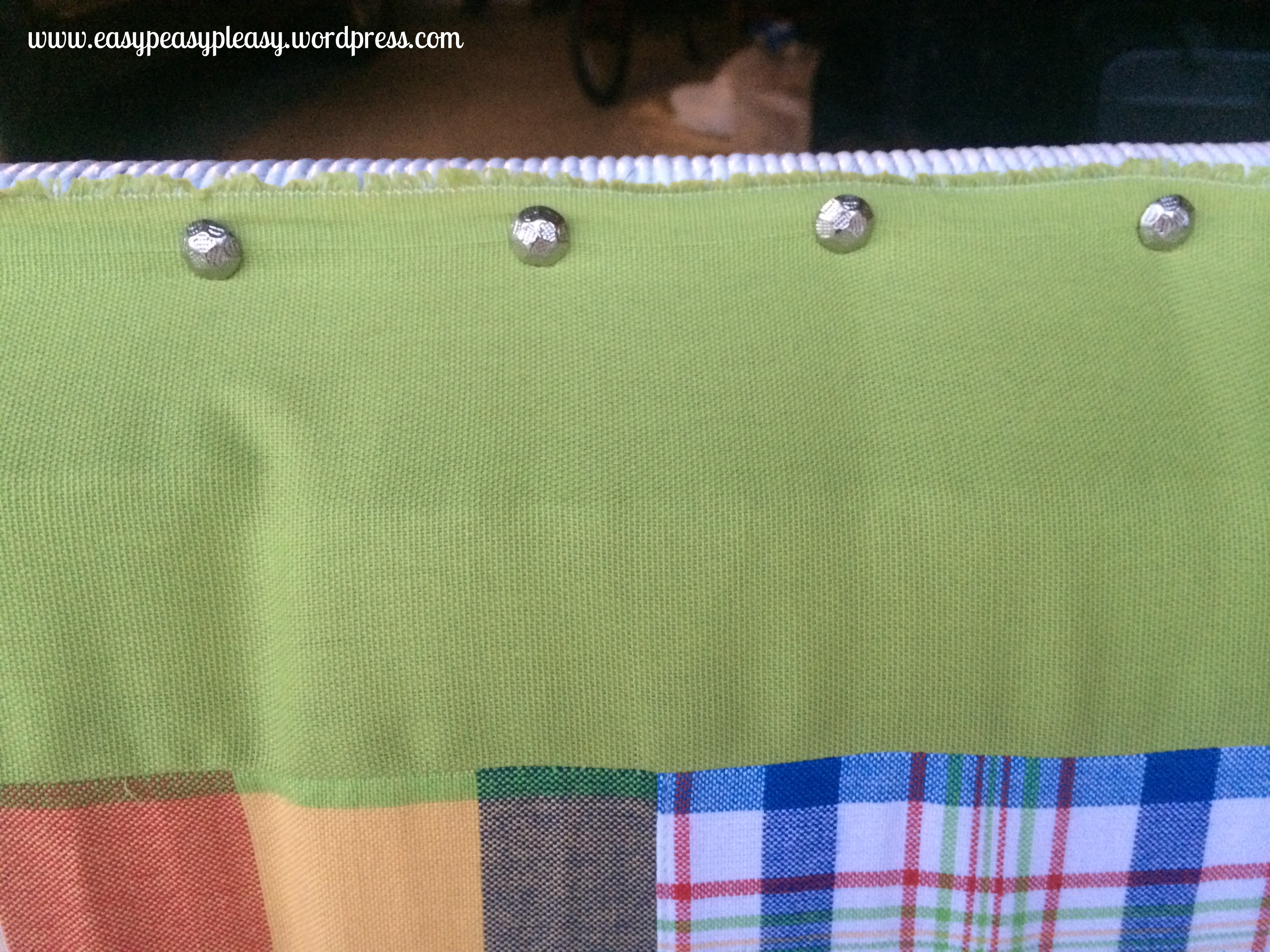how to attach fabric with upholstery tacks