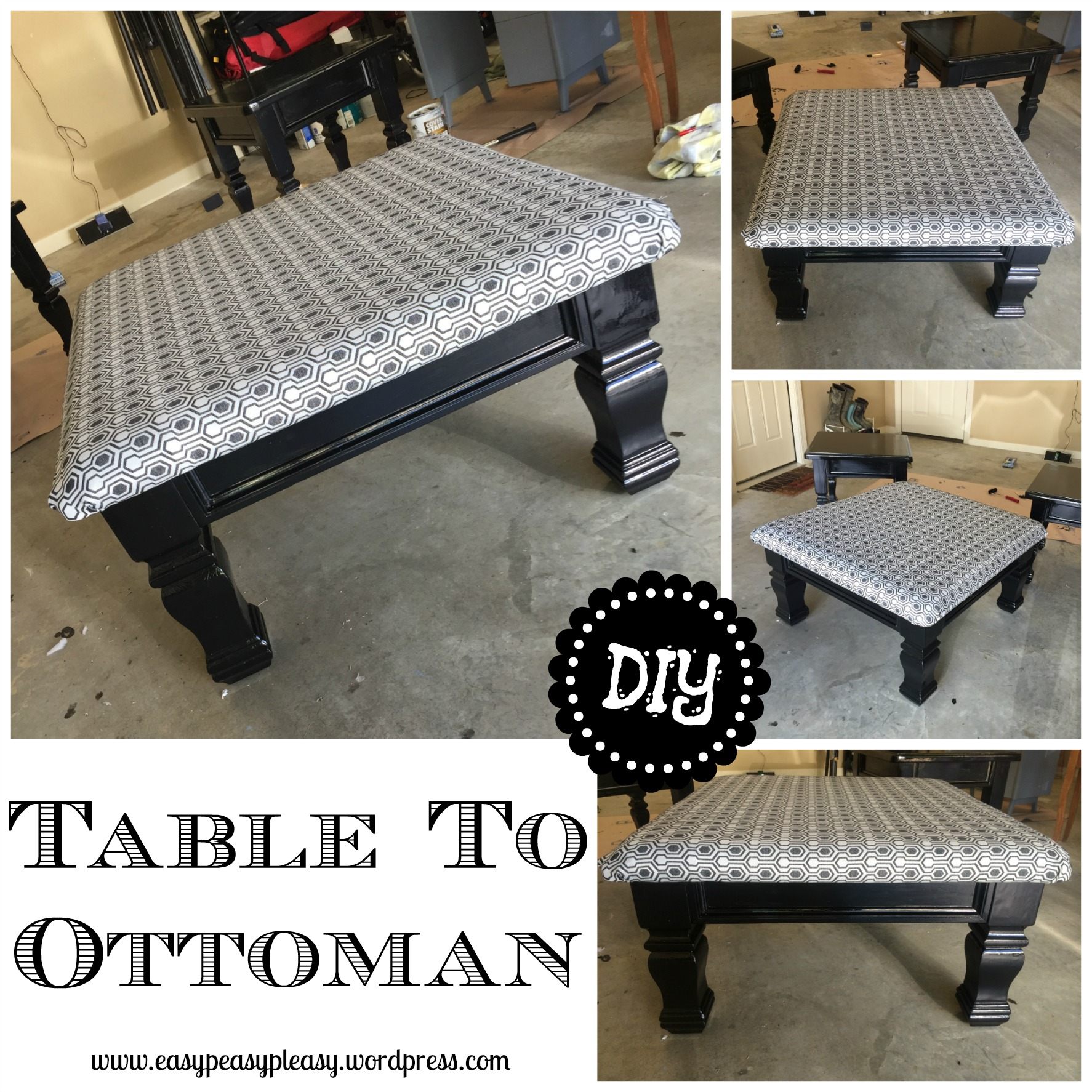 Quick and easy table to ottoman diy project.