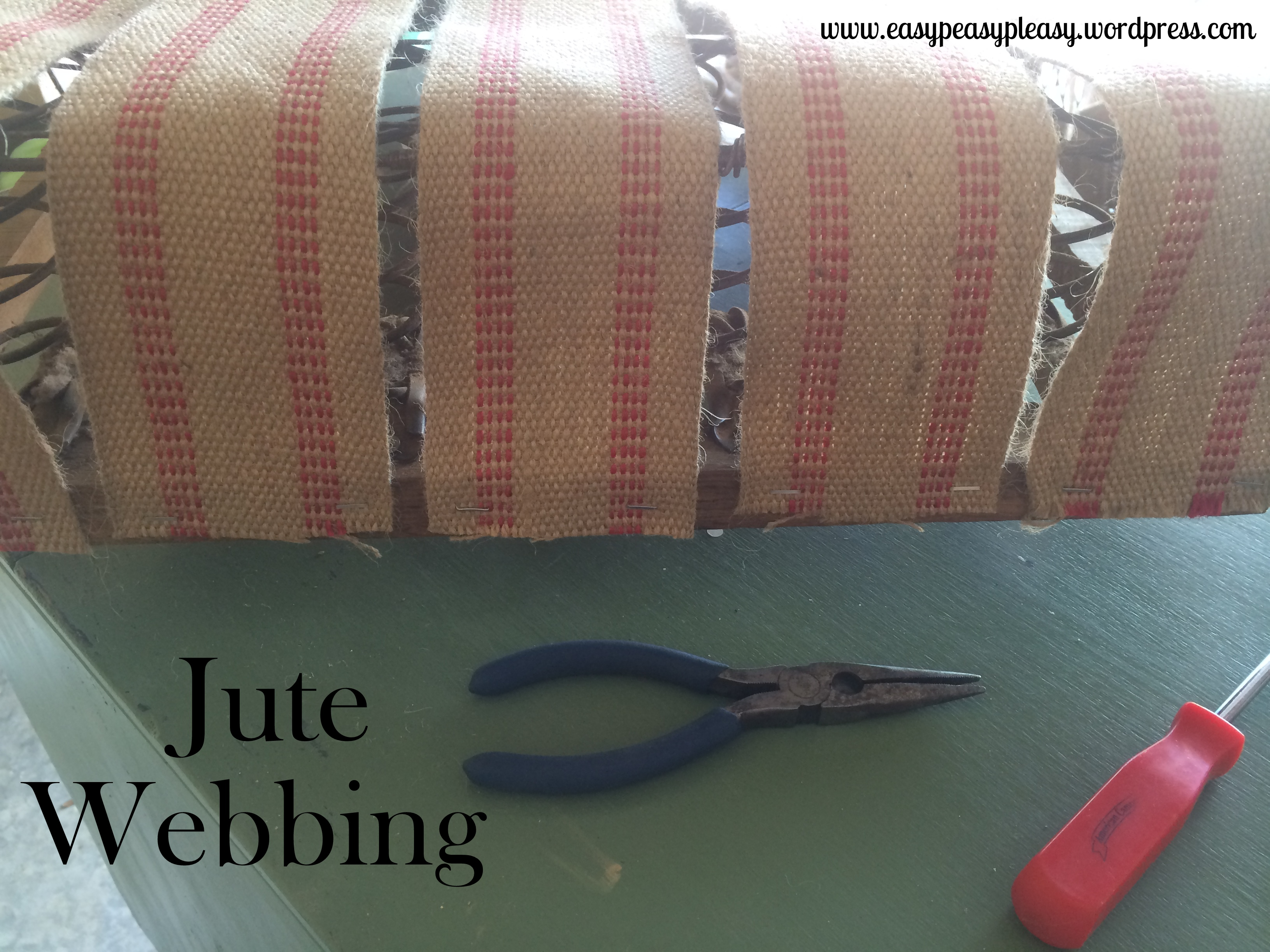 Restoring a spring loaded seat with jute webbing