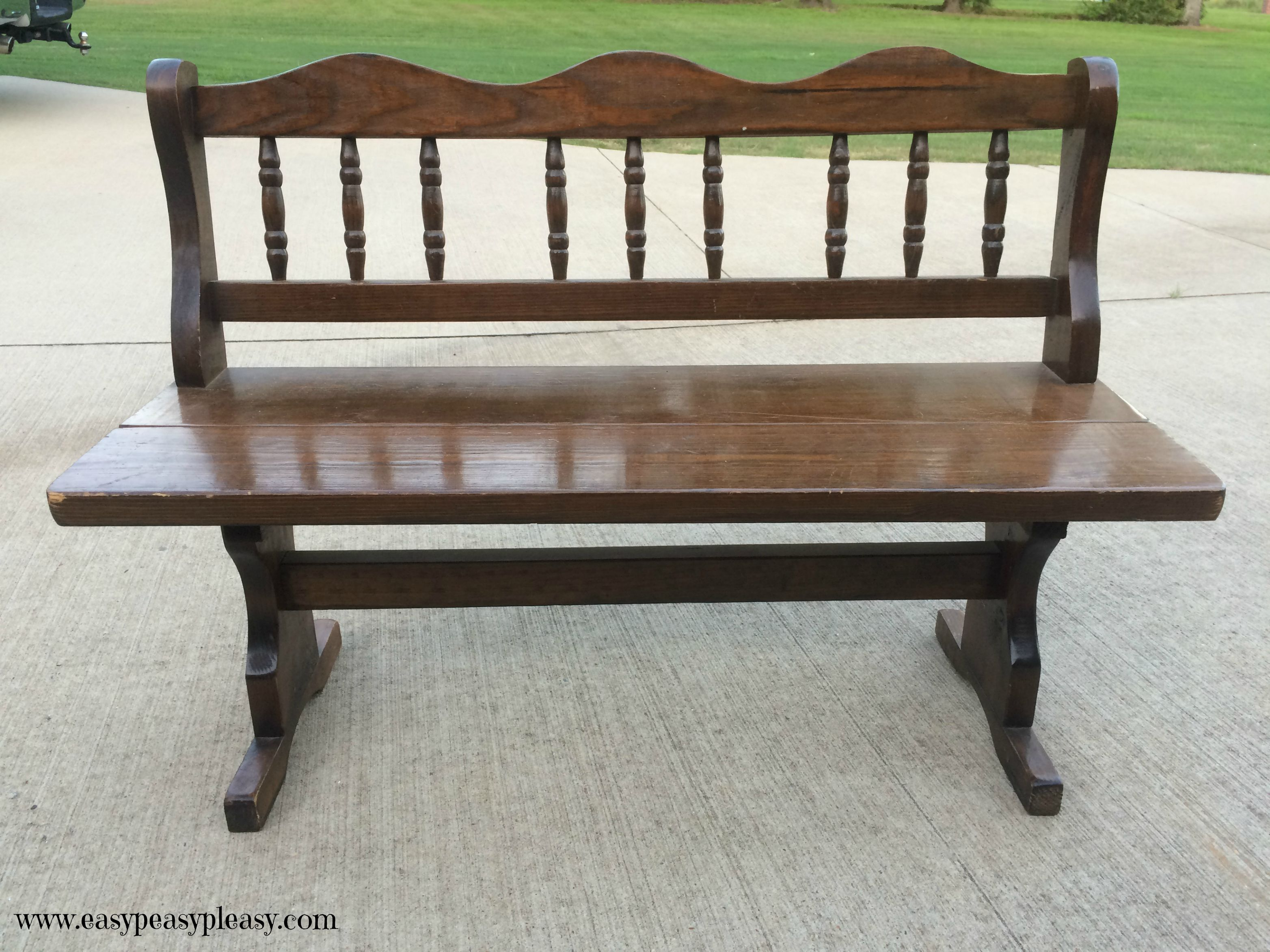 Coastal Inspired Bench Makeover When Your Home Is Totally Landlocked Easy Peasy Pleasy